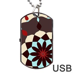 Red And Black Flower Pattern Dog Tag Usb Flash (one Side)