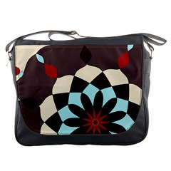 Red And Black Flower Pattern Messenger Bags
