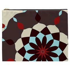 Red And Black Flower Pattern Cosmetic Bag (xxxl)