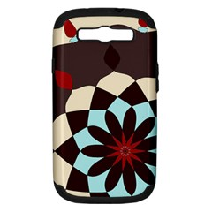 Red And Black Flower Pattern Samsung Galaxy S Iii Hardshell Case (pc+silicone)