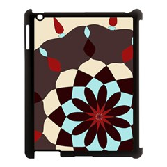 Red And Black Flower Pattern Apple Ipad 3/4 Case (black)