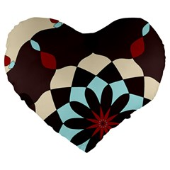 Red And Black Flower Pattern Large 19  Premium Heart Shape Cushions