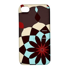 Red And Black Flower Pattern Apple Iphone 4/4s Hardshell Case With Stand