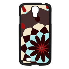 Red And Black Flower Pattern Samsung Galaxy S4 I9500/ I9505 Case (black)