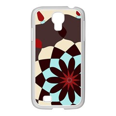 Red And Black Flower Pattern Samsung Galaxy S4 I9500/ I9505 Case (white)