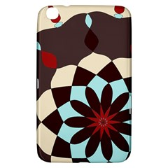 Red And Black Flower Pattern Samsung Galaxy Tab 3 (8 ) T3100 Hardshell Case