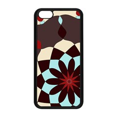 Red And Black Flower Pattern Apple Iphone 5c Seamless Case (black)