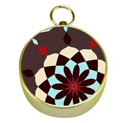 Red And Black Flower Pattern Gold Compasses