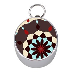 Red And Black Flower Pattern Mini Silver Compasses
