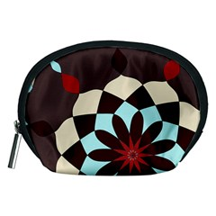 Red And Black Flower Pattern Accessory Pouches (medium)
