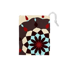 Red And Black Flower Pattern Drawstring Pouches (small)