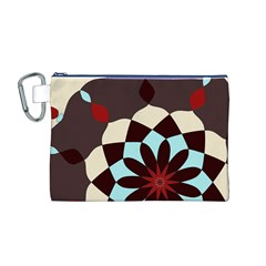 Red And Black Flower Pattern Canvas Cosmetic Bag (m)