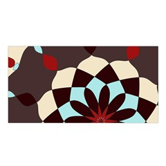 Red And Black Flower Pattern Satin Shawl
