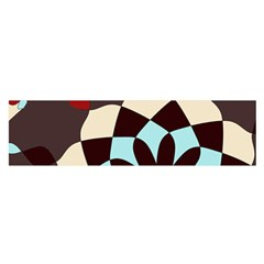Red And Black Flower Pattern Satin Scarf (oblong)
