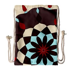 Red And Black Flower Pattern Drawstring Bag (large)