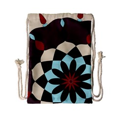 Red And Black Flower Pattern Drawstring Bag (small)