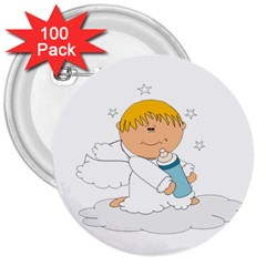 Angel Baby Bottle Cute Sweet 3  Buttons (100 Pack)