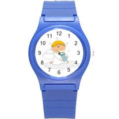 Angel Baby Bottle Cute Sweet Round Plastic Sport Watch (S)
