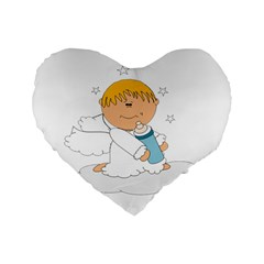Angel Baby Bottle Cute Sweet Standard 16  Premium Flano Heart Shape Cushions