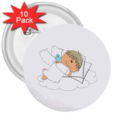 Sweet Dreams Angel Baby Cartoon 3  Buttons (10 Pack)