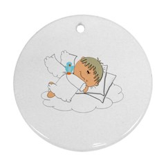 Sweet Dreams Angel Baby Cartoon Round Ornament (Two Sides)
