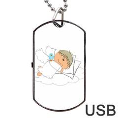 Sweet Dreams Angel Baby Cartoon Dog Tag USB Flash (Two Sides)