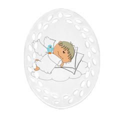 Sweet Dreams Angel Baby Cartoon Oval Filigree Ornament (Two Sides)
