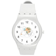 Sweet Dreams Angel Baby Cartoon Round Plastic Sport Watch (m)