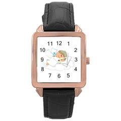 Sweet Dreams Angel Baby Cartoon Rose Gold Leather Watch