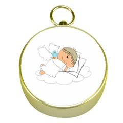 Sweet Dreams Angel Baby Cartoon Gold Compasses