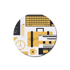 Web Design Mockup Web Developer Rubber Coaster (round)