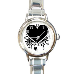 Silhouette Heart Black Design Round Italian Charm Watch