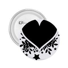 Silhouette Heart Black Design 2 25  Buttons