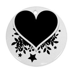 Silhouette Heart Black Design Ornament (Round)