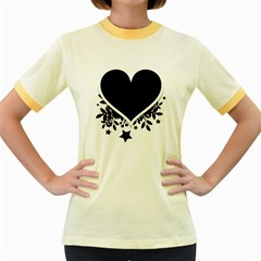 Silhouette Heart Black Design Women s Fitted Ringer T-Shirts