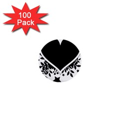 Silhouette Heart Black Design 1  Mini Buttons (100 Pack)