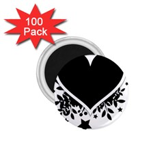 Silhouette Heart Black Design 1 75  Magnets (100 Pack)