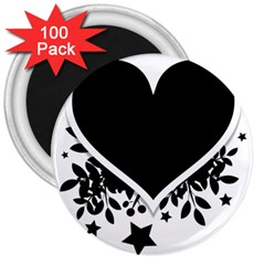 Silhouette Heart Black Design 3  Magnets (100 pack)