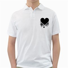 Silhouette Heart Black Design Golf Shirts