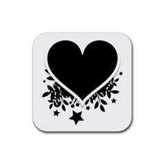 Silhouette Heart Black Design Rubber Coaster (square)
