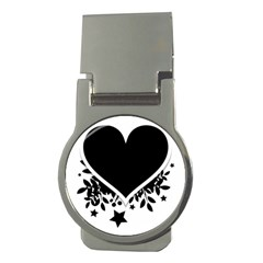 Silhouette Heart Black Design Money Clips (round)