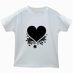 Silhouette Heart Black Design Kids White T-Shirts
