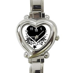 Silhouette Heart Black Design Heart Italian Charm Watch