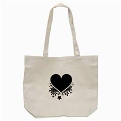 Silhouette Heart Black Design Tote Bag (cream)