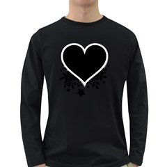 Silhouette Heart Black Design Long Sleeve Dark T Shirts