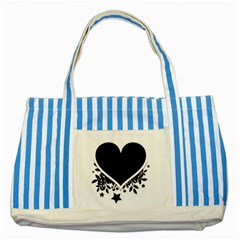 Silhouette Heart Black Design Striped Blue Tote Bag