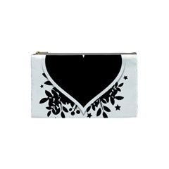 Silhouette Heart Black Design Cosmetic Bag (Small)