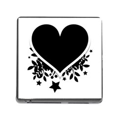 Silhouette Heart Black Design Memory Card Reader (square)