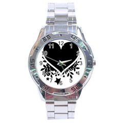 Silhouette Heart Black Design Stainless Steel Analogue Watch