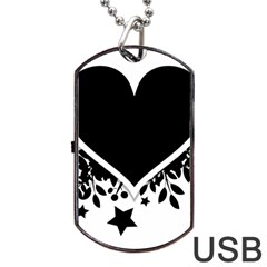 Silhouette Heart Black Design Dog Tag Usb Flash (one Side)